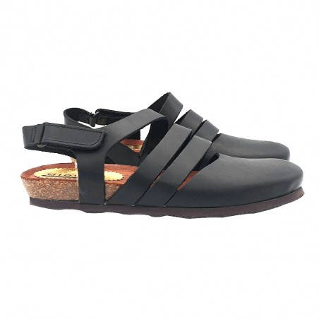 BLACK FLAT SANDALS WITH LEATHER BANDS