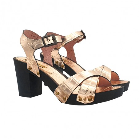 CLOGS WITH CROSSED BANDS GOLD COMFORTABLE HEEL