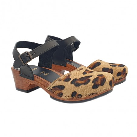 SANDALES CUIR LEOPARD FEMME TALON 5 CM MADE IN ITALY