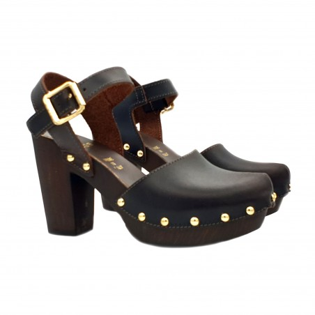 DUTCH STYLE SANDALS IN COFFEE COLORED LEATHER MADE IN ITALY