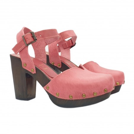 DUTCH STYLE SANDALS IN FUCHSIA COLOR ED LEATHER MADE IN ITALY