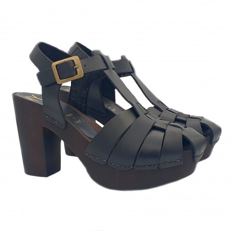 WOMEN'S SANDALS IN BLACK LEATHER INTERTWINED BANDS MADE IN ITALY