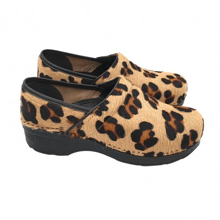 DANISH CLOGS IN SYNTHETIC FUR WITH CHEETAH PRINT
