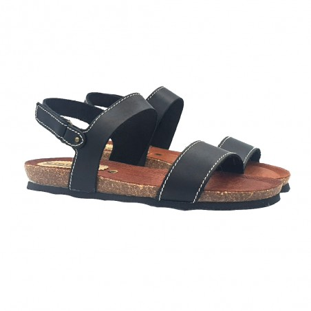 LOW BLACK WOMAN SANDALS WITH LEATHER BAND