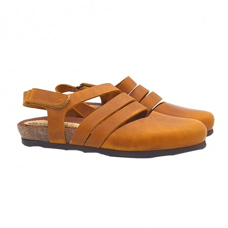 LEATHER YELLOW FLAT SANDALS WITH LEATHER BANDS